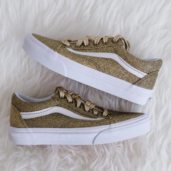 Vans Shoes Old Skool Gold Glitter Laceup Poshmark